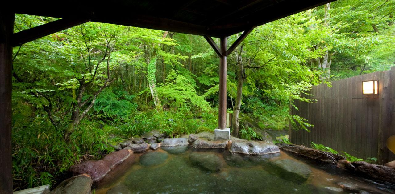 風の音と、緑の映える湯に身を委ねる