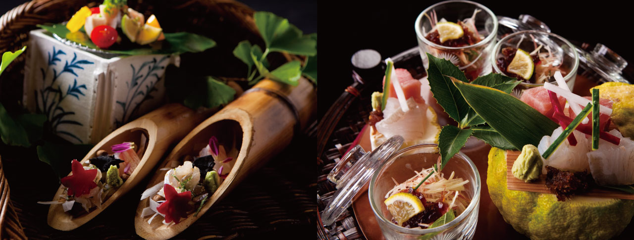 夕食は、五感で感じる独創的な田舎料理に舌鼓